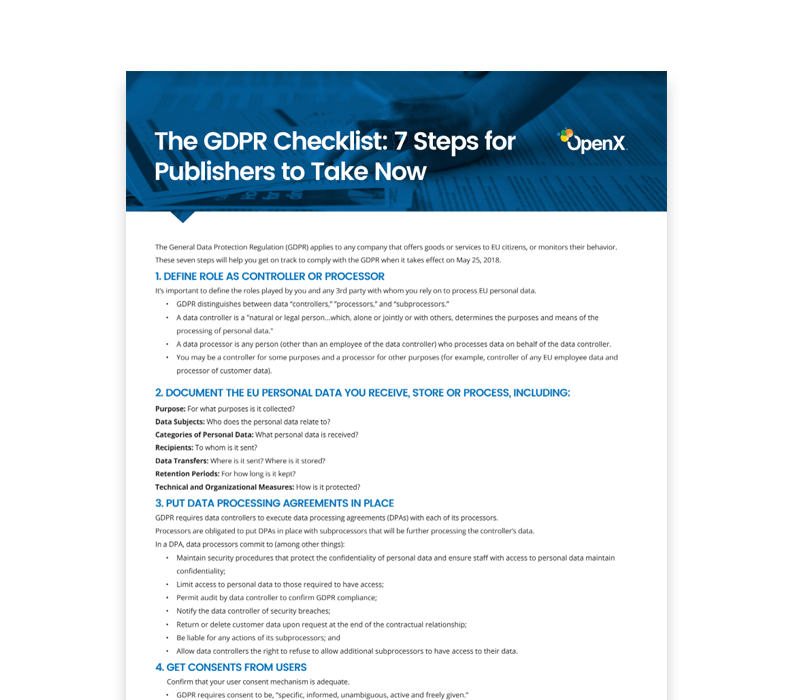 OX GDPR Thumbs Checklist 2 - General Data Protection Regulation