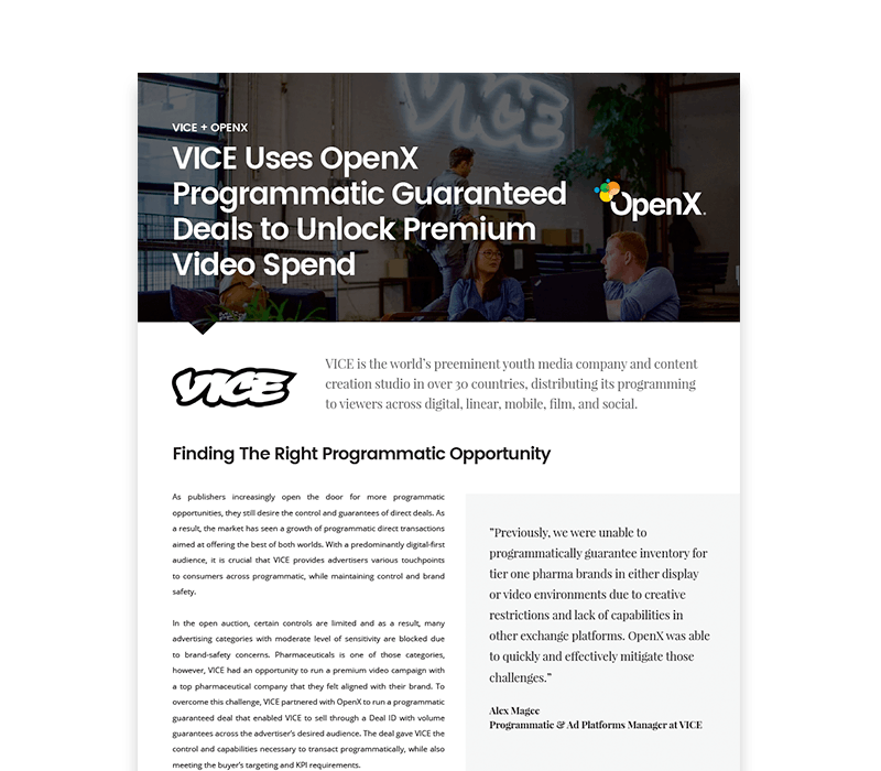 OX CaseStudies Thumbs VICE - VICE Leverages OpenX Programmatic Guaranteed Deals to Unlock Premium Video Spend